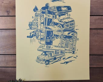 linocut poster vehicles print