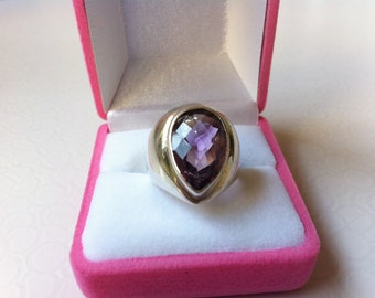 Amethyst Ring Silver - February Birthstone Ring - Gemstone Ring - Stacking Ring - Sterling Silver Ring - Tear Drop Ring