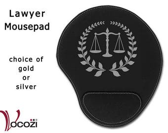 Lawyer Attorney Black Leatherette Mouse Pad