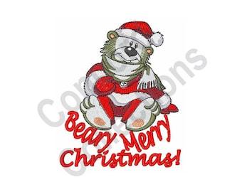 Beary Merry Christmas - Machine Embroidery Design, Christmas, Merry Christmas, Polar Bear, Bear