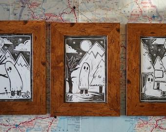 3pc - Cute Ghost Lino Prints - Framed - Vintage