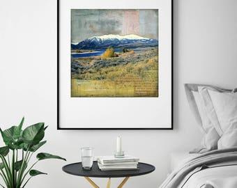 "Mountain Print: Mixed Media Photography, Colorado Print, Lake County Colorado, Twin Lake print, 8""x8"" or 12""x12"" print, ""Twin Lakes"""