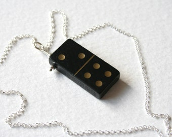 Vintage Wooden Domino 2 4 Charm Necklace Sterling Silver