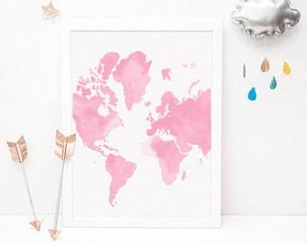 Girls nursery wall, 50% OFF Nursery Prints Girl, Girls Bedroom Nursery Posters,pink map travel Wall Art, Baby Girl Wall Print,Printed Dreams