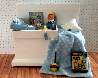Miniature One Inch Scale Filled Blue Baby Trunk