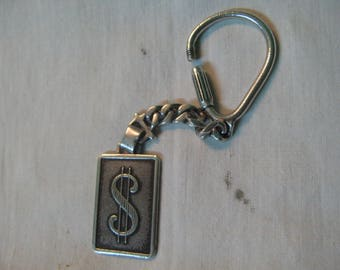 S 18.4g 925 Sterling Silver KEY RING Flag USD