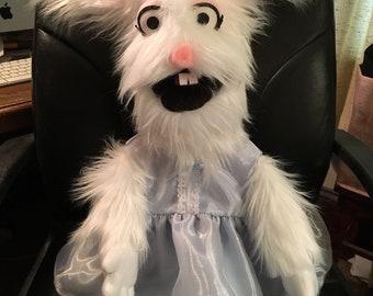 Puppet, Deluxe Rabbit Puppet, Bunny Puppet, Stuffed Rabbit, Ventriloquist, Marionette, Puppeteer, Doll