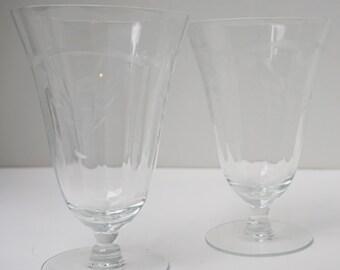 Etched Crystal Water Goblets Vintage, Set of 2