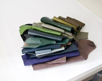 2 lbs Leather Scraps, Bundle 004, blue, green, purple, cool tones, genuine top grain full grain upholstery leather, leather remnants