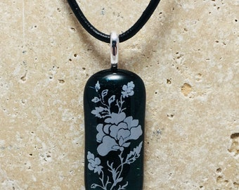 Green Iridized Floral Fused Glass Pendant