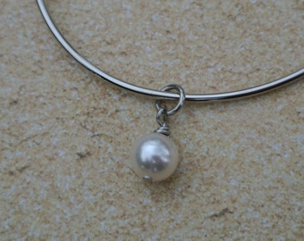 Pearl charm, wire wrapped pearl, Swarovski pearl