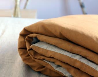 3 piece 100% linen bedding set - gray brown - linen duvet cover - linen pillow cases - natural bedding - gift - shabby chick