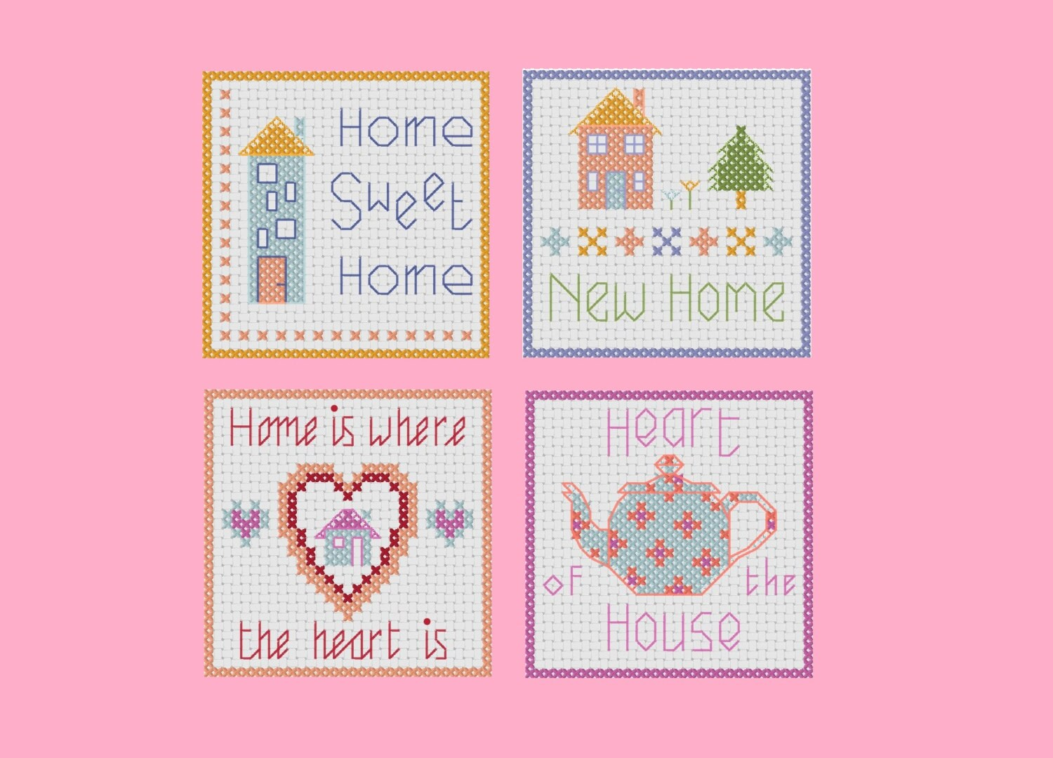 Cross stitch new home cards four greeting card designs from this is a digital file kristyandbryce Image collections