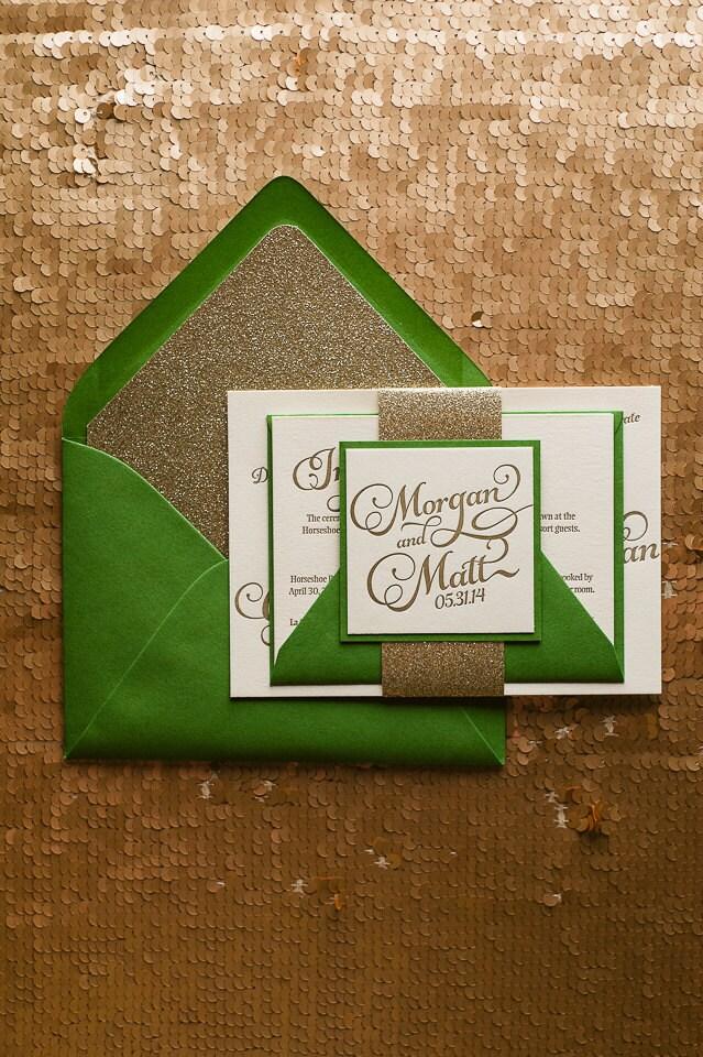 Emerald Gold Letterpress Glitter Wedding Invitation