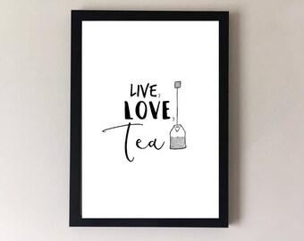 Tea gifts, Tea prints, tea poster, tea art, tea wall art, kitchen print, kitchen wall decor, kitchen art, cafe print, cafe art, tea mug