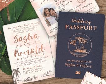 Destination Wedding Passport Invitation Set in Rose Gold