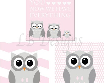 Owl Nursery Art, Pink and Gray Nursery, Girl's Owl Nursery Decor, Girl's Woodland Nursery Art, Girl's Owl Bedroom Decor, Pink Owl Decor - 8x