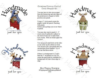 """PDF Printable """"Christmas Chimney Mischief"""" Circle Wrapper/Label Set - NO background graphic"""