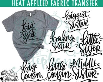 IRON On v122-L1  Big Little Sister Cousin Script Heat Applied T-Shirt Transfer *Specify Color Choice in Notes or BLACK Vinyl