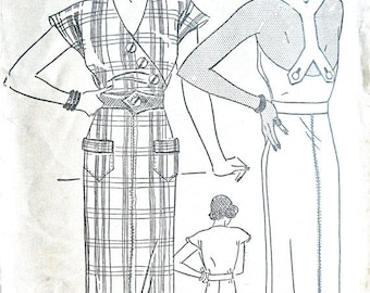 Spring Sale Early 1930s Halter Dress Pattern by Pictorial Printed Patterns 7007  Bust 36 inches