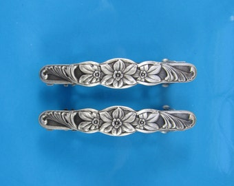 French Barrette Set of Two 50mm- Hair Accessories- Hair Clips- Silver Barrette- Small Barrette