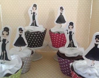 Audrey Hepburn, Breakfast at Tiffanys Party Cupcke Topper Decorations - Set of 10