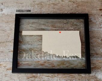 OKLAHOMA LOVE 11x14 Map Gift * Custom Framed Handmade Canvas Art * State & City * Moving Birthday Wedding Anniversary Graduation Engagement