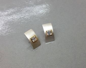 Ohrstecker Ohrringe Silber 925 Kristallstein teilvergoldet SO230