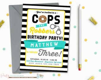Cops and Robbers Birthday Invitation, Police Birthday Invitation, Cops and Robbers Party, Police Birthday Party, Police Birthday Party