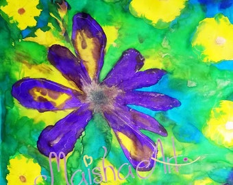 Silk scarf Spring bouquet, Mothers day gift, Hand painted silk scarf, Unique gift for woman, Love Flowers, Purple, yellow, blue, green, gold