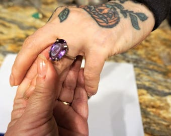 Amethyst Ring / Amethyst Jewelry / 14 Kt White Gold / Large  Ring / 14 Kt White Gold Jewelry / Purple Ring /