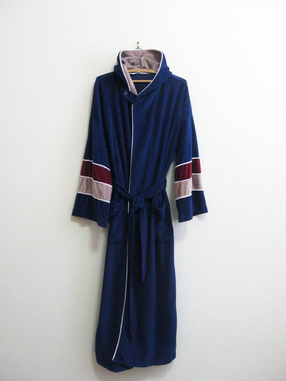 Terrycloth Robe Kimono Bath Robe 1980 Checked Robe One Size q09npA63