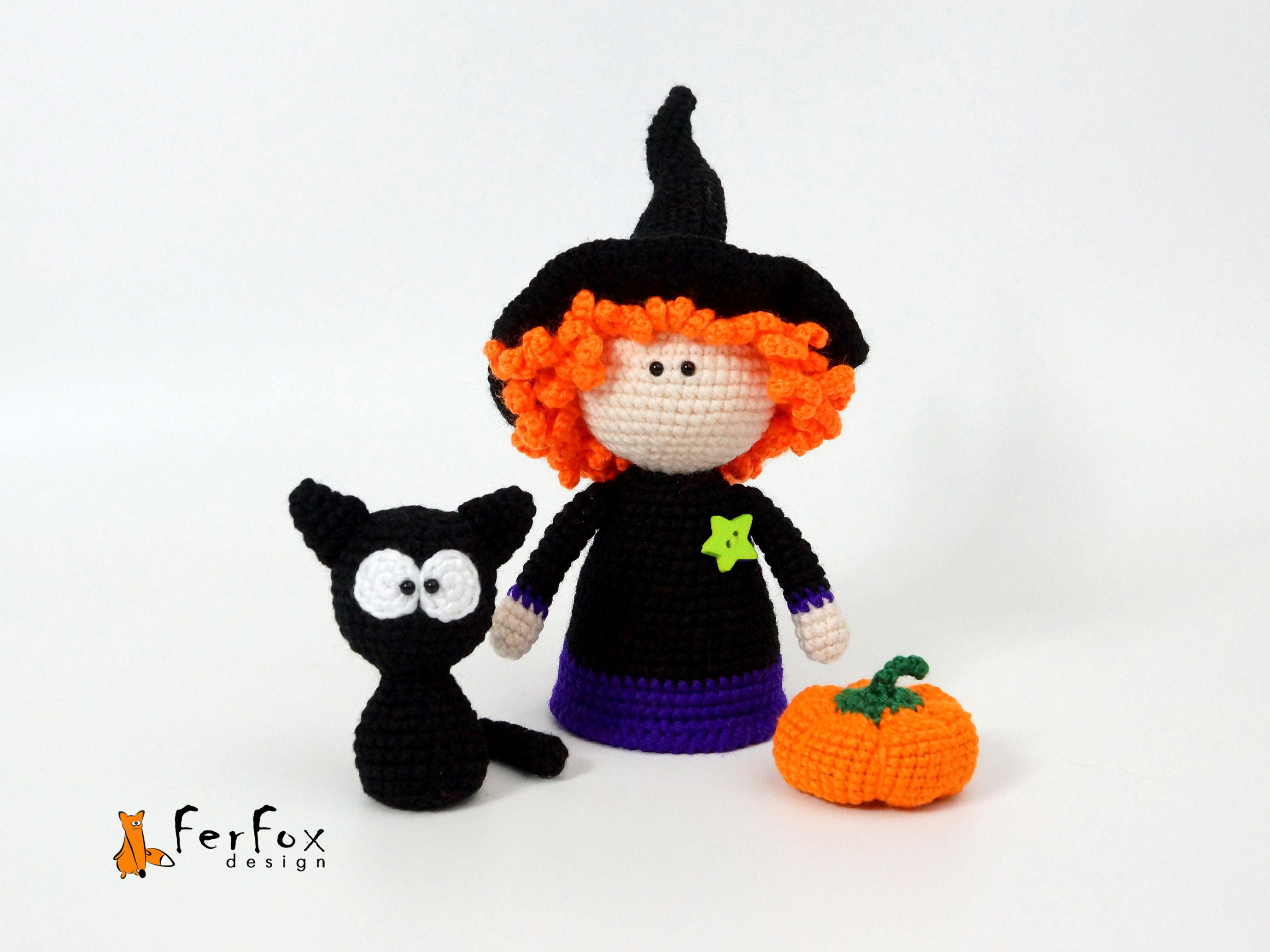 Witch doll Black cat Pumpkin Halloween decor Witch figurine