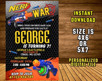 Nerf Gun Invitation/ Nerf Gun Birthday /Nerf Gun Party/ Nerf Gun Invite/ Nerf Birthday Invitation/ Nerf Party Invite/ F1236