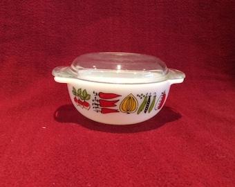 Pyrex JAJ Harvest 8oz Easy-Grip Casserole Dish circa 1960