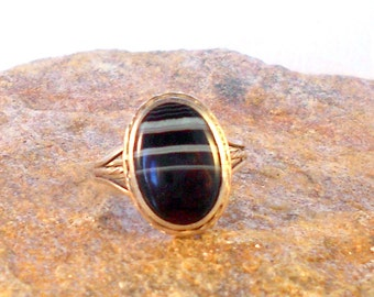 Ring Southwestern Ring Sterling Silver with Black Banded Agate Stone Size 6 Gift For Her