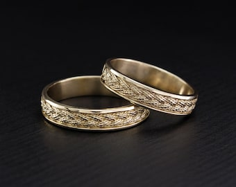 Braided wedding rings set Filigree wedding bands Unique
