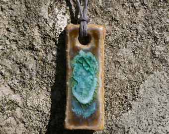 Ceramic and Recycled Glass Pendant on Hemp Cord