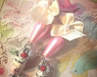 Ice cream shoppe earrings-malt shoppe earrings-satin bow earrings-kawaii gift for her