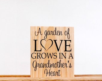 Grandmother Wall Art Quote, Gifts For Grandma, Wood Wall Art Saying, 9.25 x 13 inches, Living Room Wall Decor, Grandmother Wall Plaque