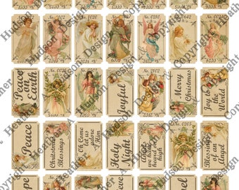 Christmas Angels Gorgeous junk journal tickets tags Vintage Cream 5 Sheets images Focal Tiny DIY Printable Digital Collage Sheet Victorian