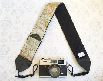 DSLR Minky Camera Strap, Padded with Lens Cap Pocket, Nikon, Canon, DSLR Photography, Photographer Gift,  - Color Map with Black