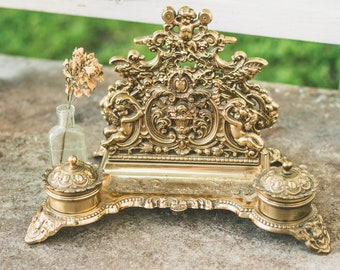 Antique Solid Brass Art Nouveau Italian Rococo-Style Double Inkwell and Desk Organizer with Scroll Cherubs Motif / Office Decor / Graduation
