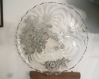 "Large 25th Wedding Anniversary  Plate Glass Flowers 13""+ Footed with Silver Overlay"