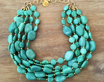 Turquoise Bead Necklace - Chunky Beaded Statement Necklace MultiStrand in Turquoise