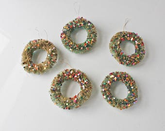 Kitschy Vintage Bottle Brush Wreath Ornaments with Confetti Sequins Glitter Lot of 5