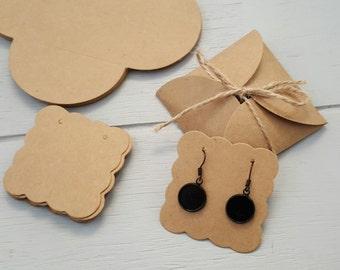 10 Kraft Earring Display Cards Covers