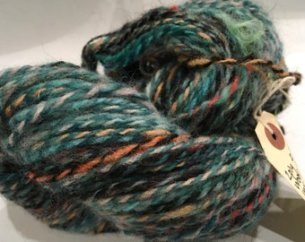 SEA BED Chunky hand spun art yarn 146 metre 159 yards single ply for weaving or knitting or crochet 50g