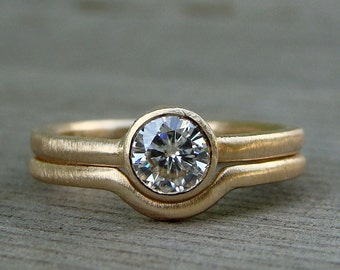 Moissanite and Recycled 14k Yellow Gold Engagement Ring and Wedding Band Set - Forever One G-H-I, Diamond Alternative - Made To Order