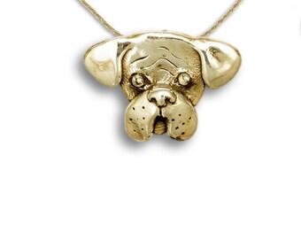 14K Gold Boxer Pin Pendant